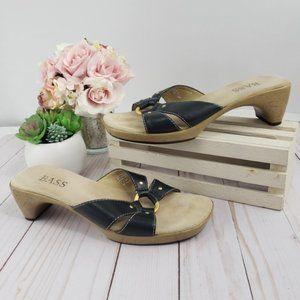 Bass Black Leather Petals Sandals